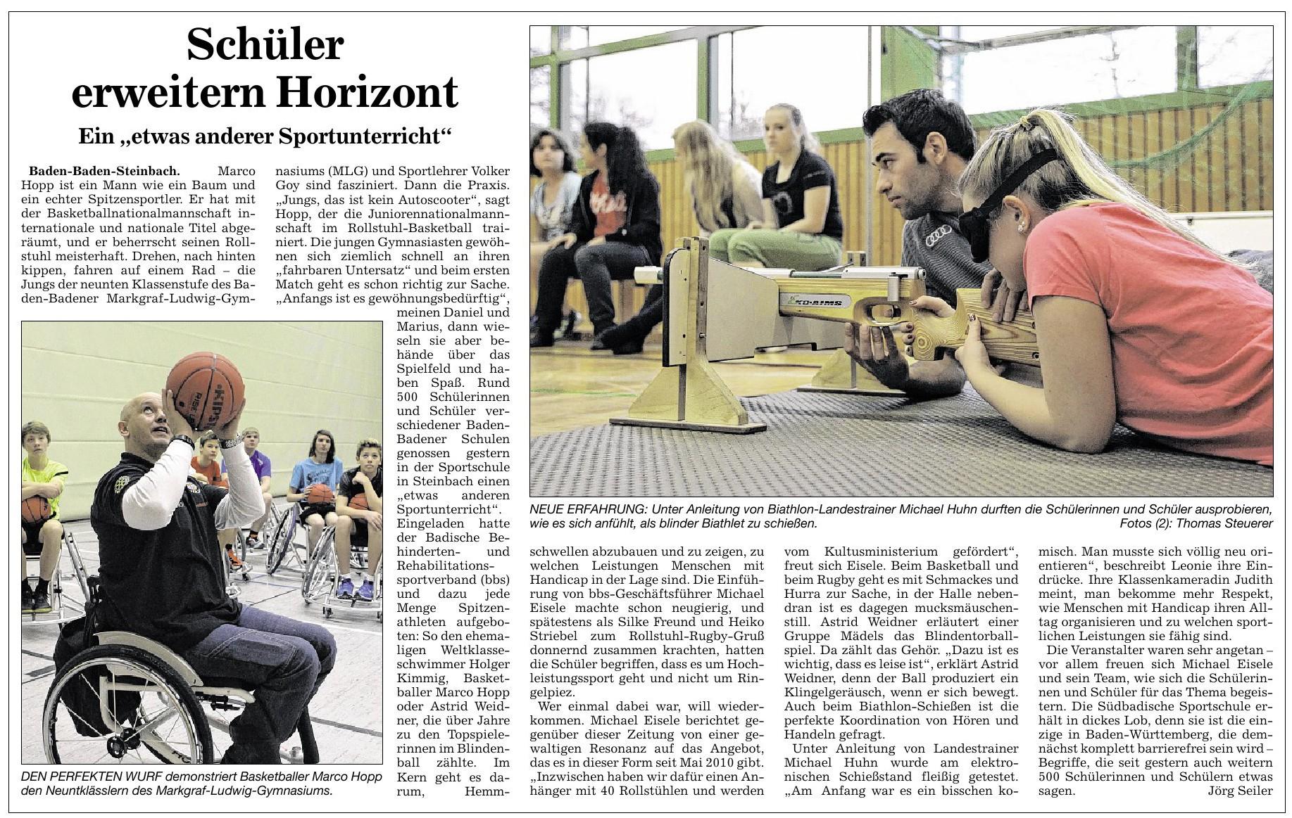 Badische Neueste Nachrichten, 20.12.2013: Schüler erweitern Horizont