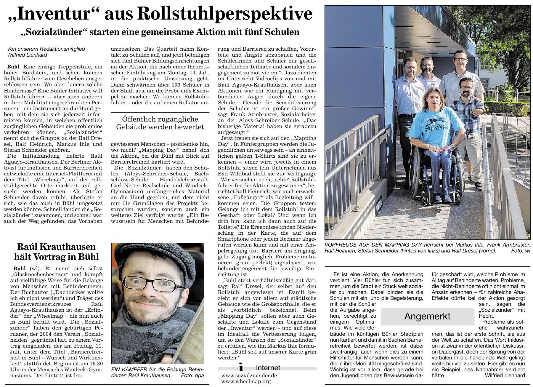 """Badische Neueste Nachrichten, 01.07.2014: """"'Inventur' aus Rollstuhlperspektive"""""""