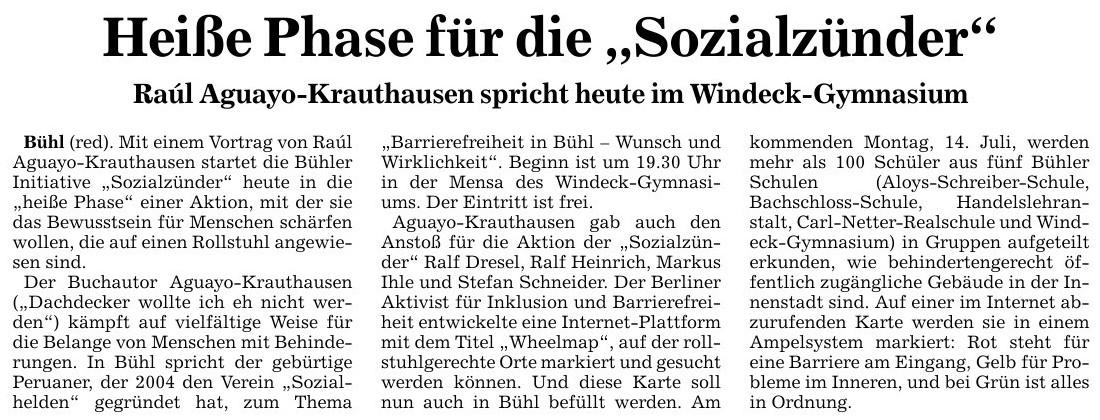 """BNN, 11.07.2014: """"Heiße Phase für die 'Sozialzünder'"""""""