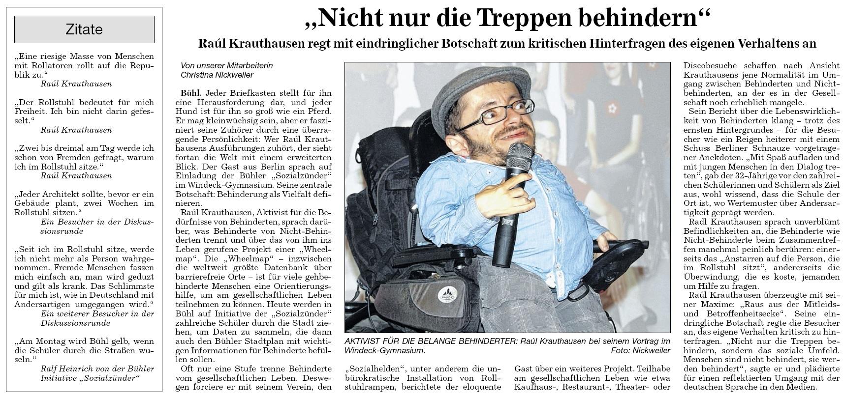 """BNN, 14.07.2014: """"Nicht nur die Treppen behindern"""""""