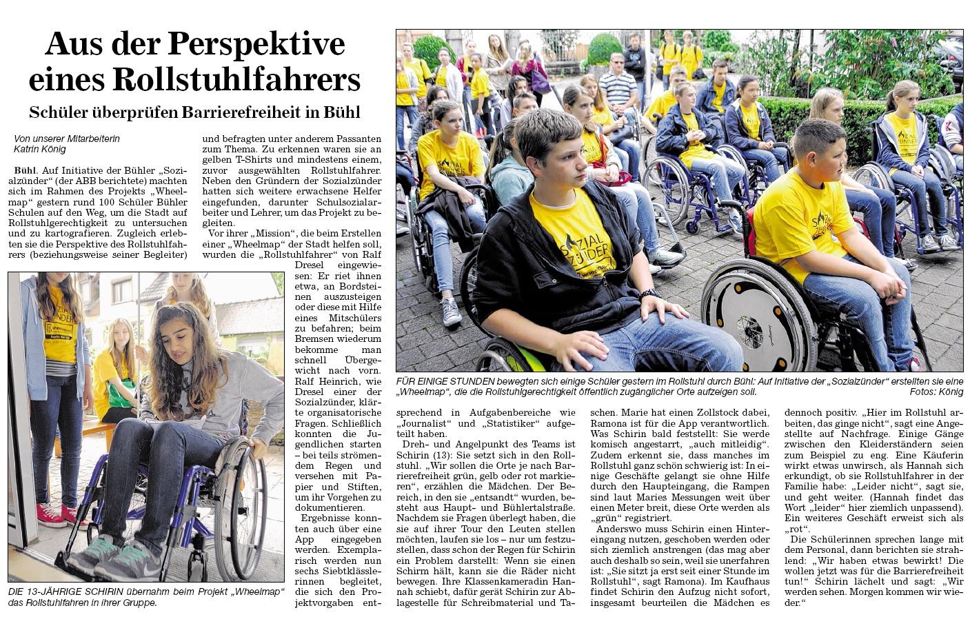 """BNN, 15.07.2014: """"Aus der Perspektive eines Rollstuhfahrers"""""""