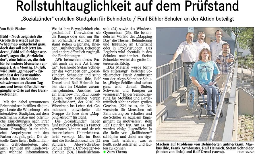 """Badisches Tagblatt, 01.07.2014: """"Rollstuhltauglichkeit auf dem Prüfstand"""""""