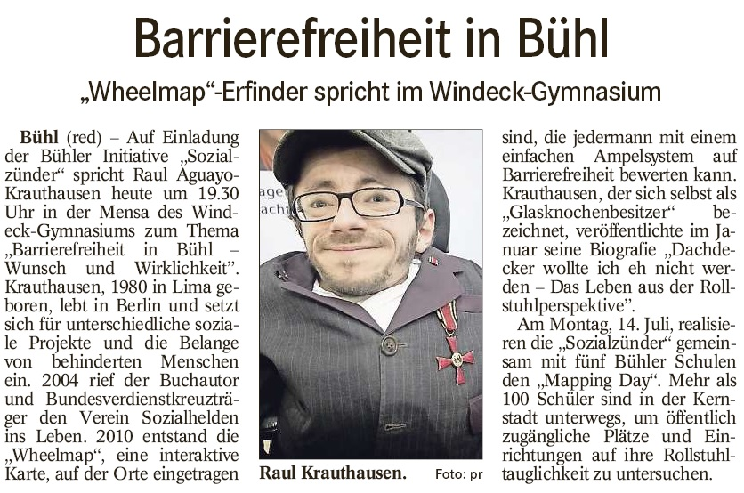 "BT, 11.07.2014: ""Barrierefreiheit in Bühl"""