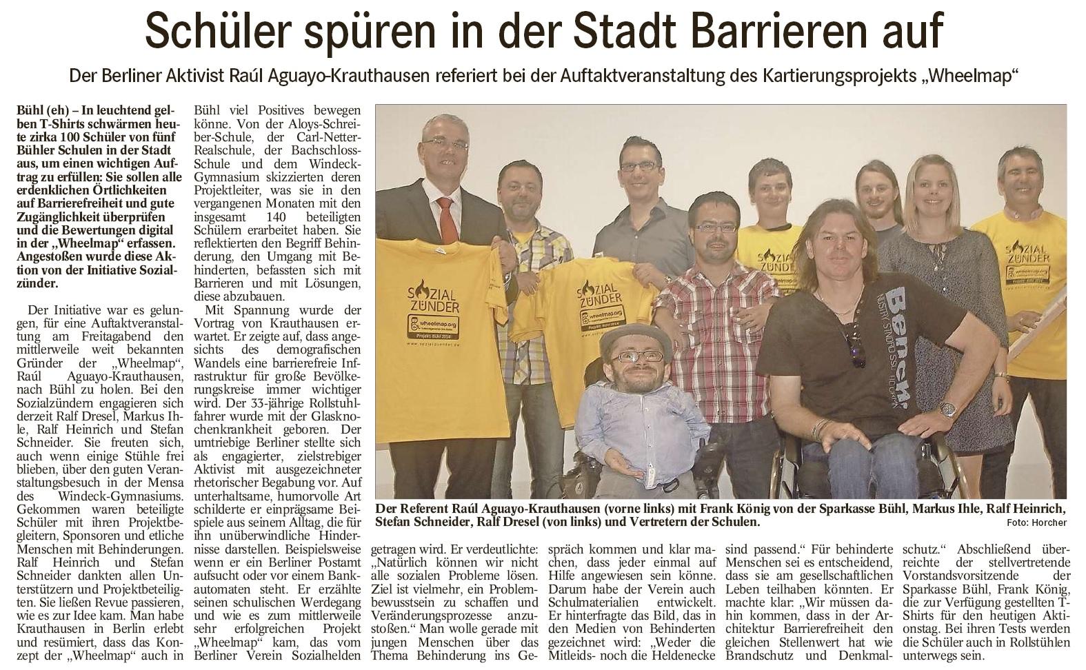 """BT, 14.07.2014: """"Schüler spüren in der Stadt Barrieren auf"""