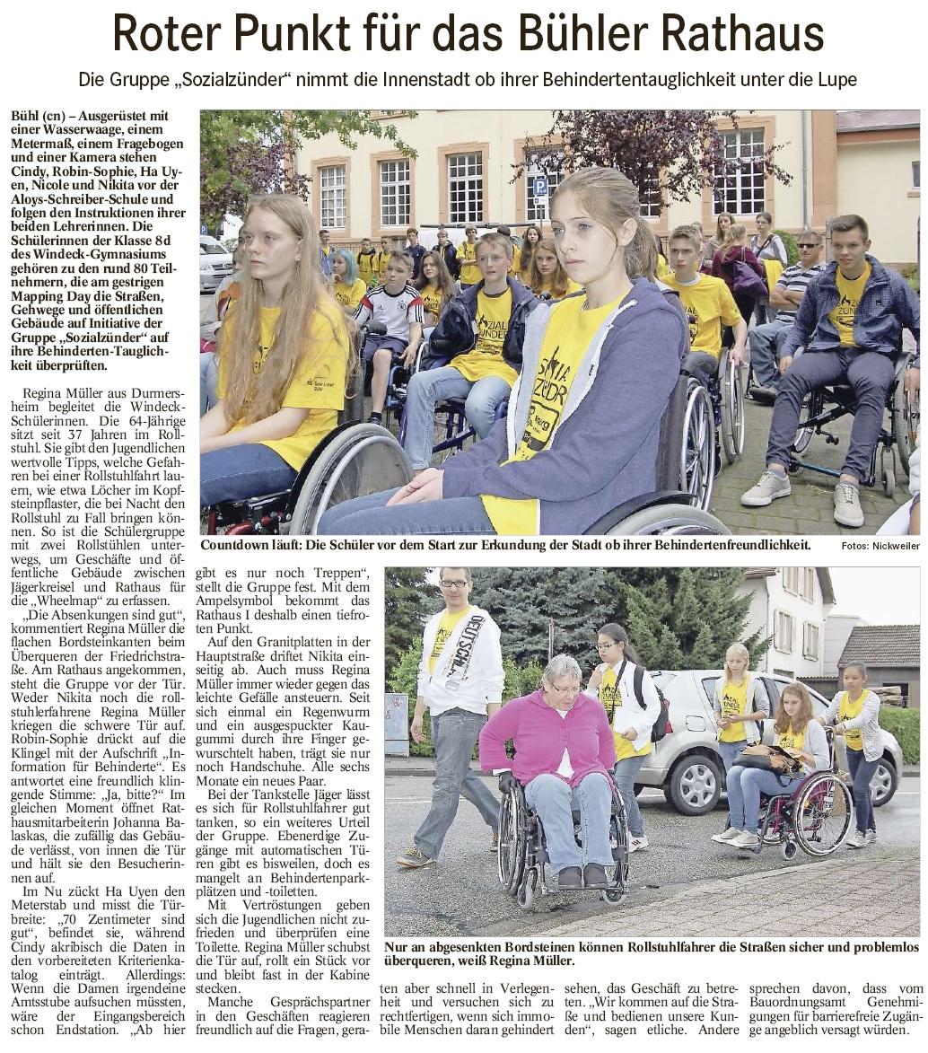 """BT, 15.07.2014: """"Roter Punkt für das Bühler Rathaus"""""""
