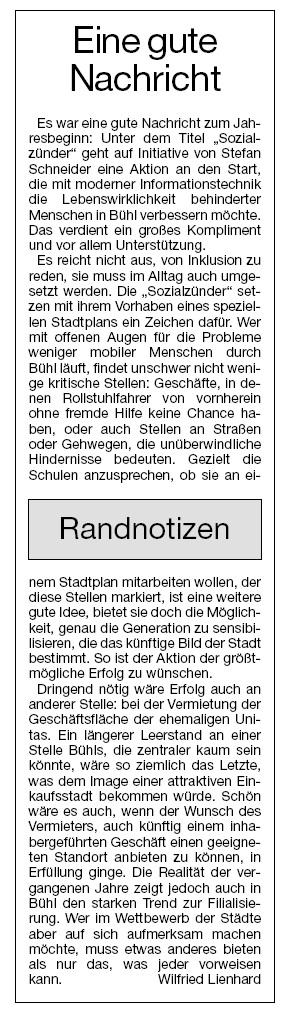 Badische Neueste Nachrichten, 04.01.2014: Kommentar von Chefredakteur Wilfried Lienhard