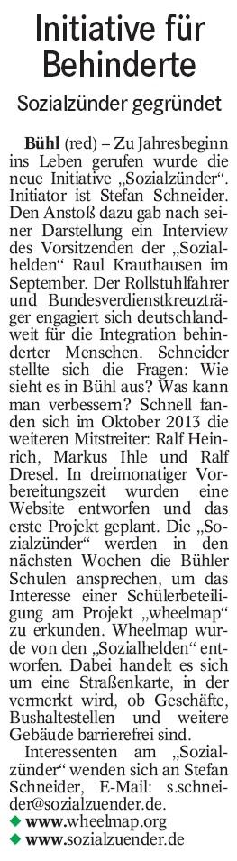 """BT, 03.01.2014: """"Initiative für Behinderte"""""""
