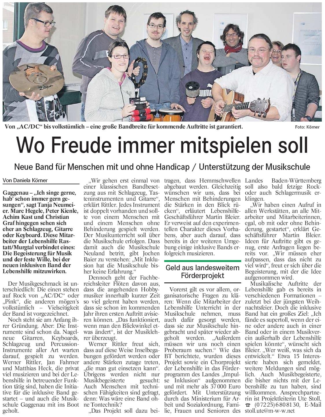 "BT, 04.01.2013: ""Wo Freude immer mitspielen soll"""