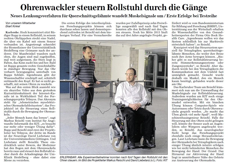 Badische Neueste Nachrichten, 25.02.2014: Rollstuhlfahren mit Ohrenwackeln